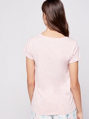 T-shirt imprimé et sequins cactus rose.