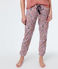 Pantalon imprimé rose.