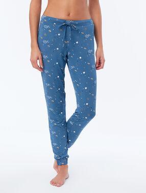 Pantalon de pyjama à motifs bleu.