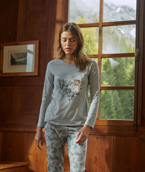 T-shirt imprimé tigre en coton