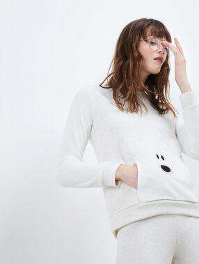 T-shirt avec détails fausse fourrure beige.