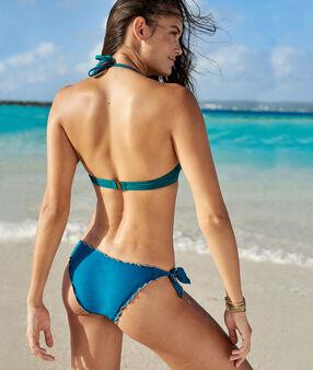 Bas de bikini à nouer bleu vert.