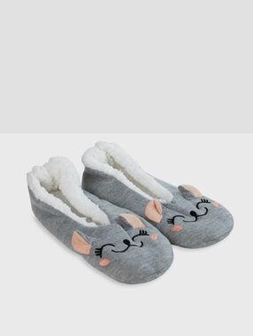 Chaussons souris gris.