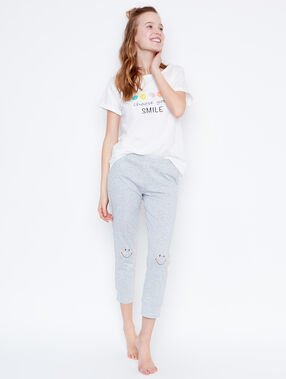 T-shirt message smiley blanc.