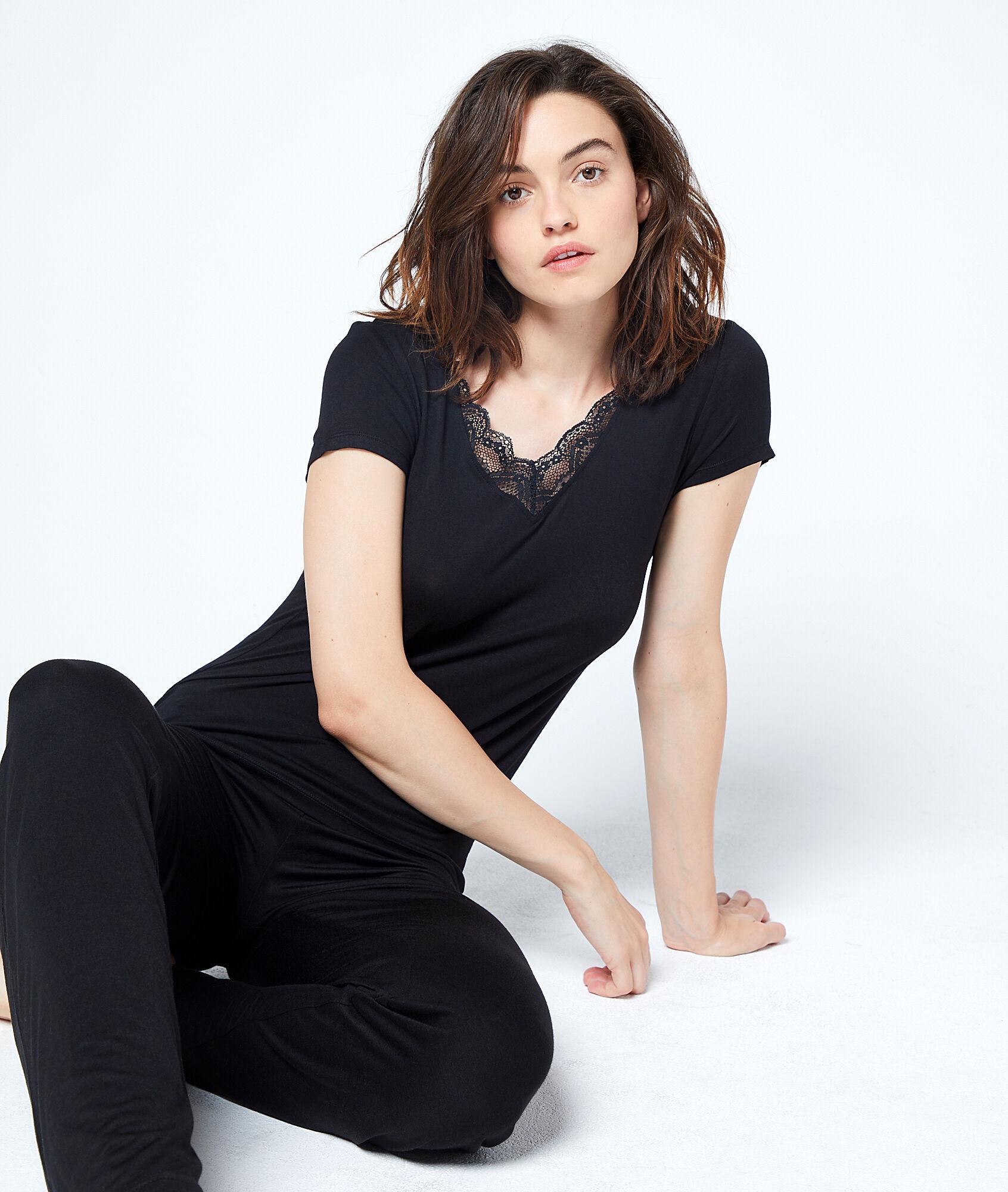 pantalon fluide taille haute amelia noir etam. Black Bedroom Furniture Sets. Home Design Ideas