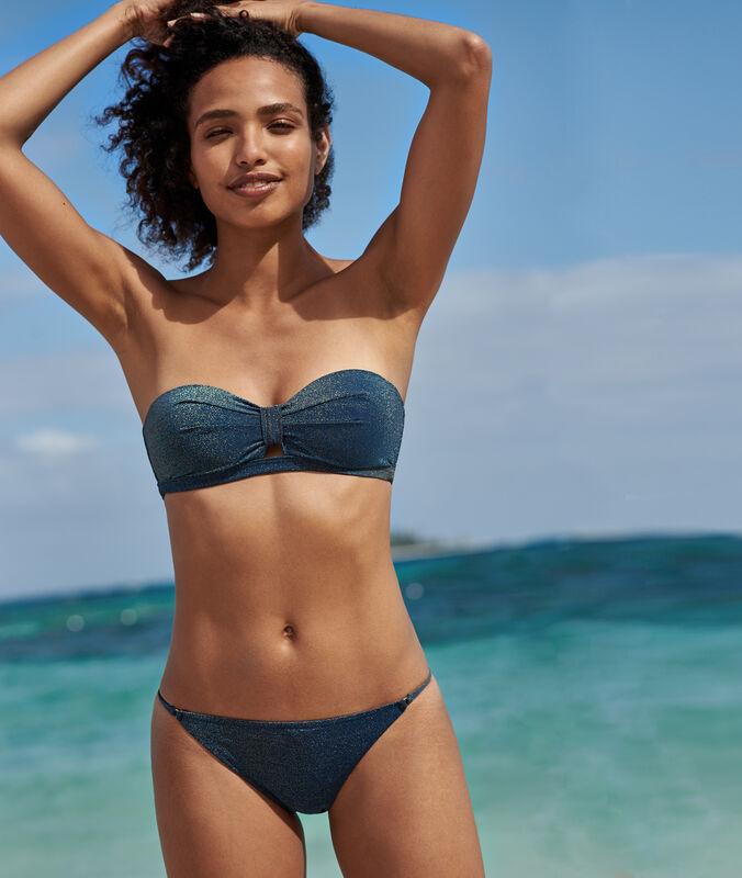 Bas de bikini simple bleu nuit/fibres metalisees.