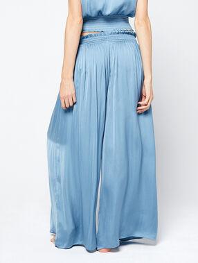 Pantalon satiné extra large bleu ciel.