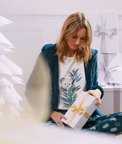 Pyjama 3 pièces imprimé, veste polaire;${refinementColor}