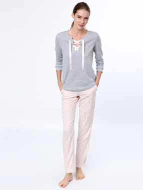 Pantalon imprimé chaussons de danse rose.