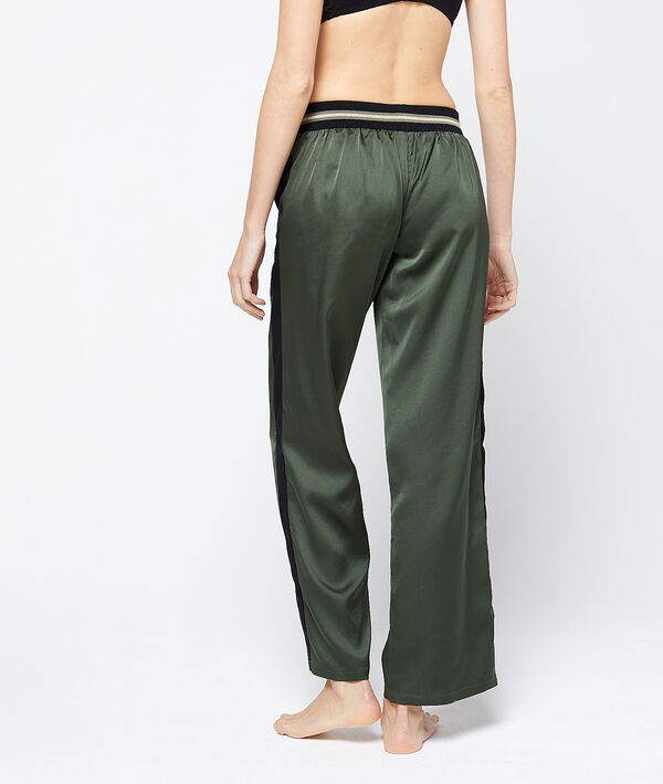 Pantalon satiné bandes contrastantes