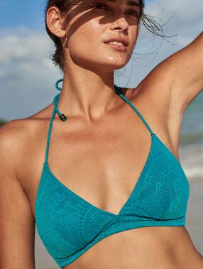 Haut de maillot de bain triangle à motif uni bleu canard.