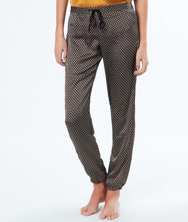 Pantalon micro imprimé noir.