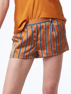 Short de pyjama rayé ocre.