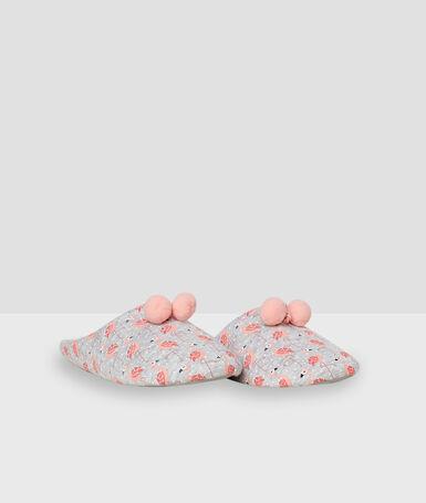 Chaussons molleton imprimé rose.
