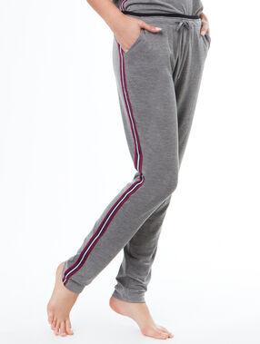 Pantalon bandes cotés gris.