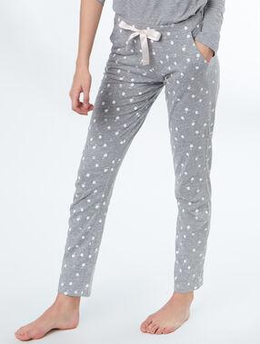 Pantalon imprimé cygnes gris.