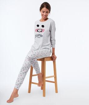 T-shirt à message avec pompons gris.
