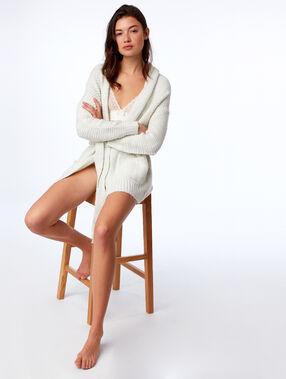 Veste homewear détails fil métallisé ecru.