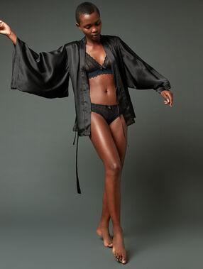 Déshabillé kimono 100% soie noir.