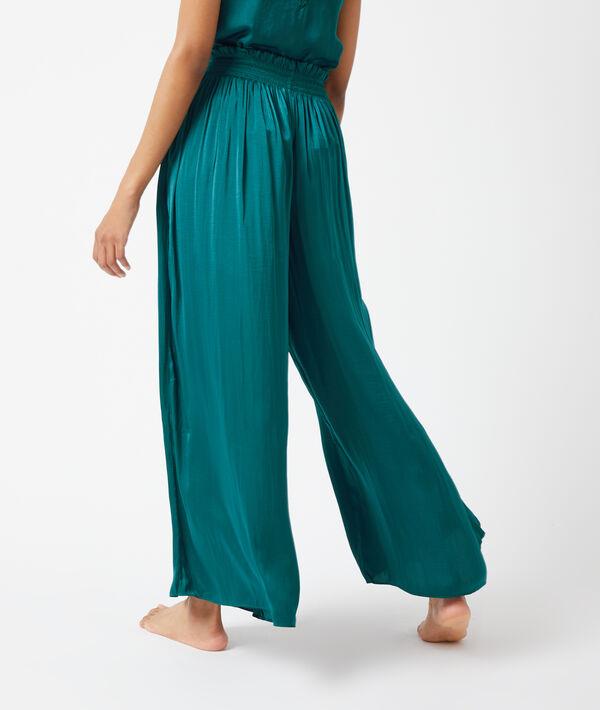 Pantalon satiné, smocké à la taille;${refinementColor}