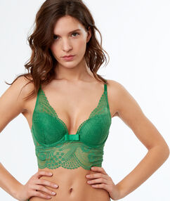 Soutien-gorge n°3 - triangle push-up en dentelle, basque large vert nil.