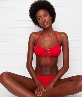 Bikini bandeau, œillets et laçages rouge.