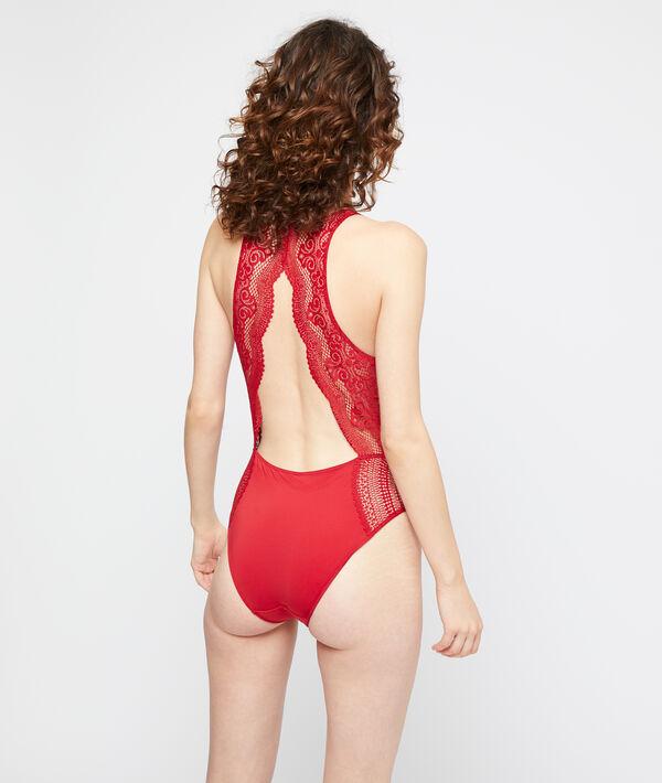 Body à dos ouvert en dentelle graphique