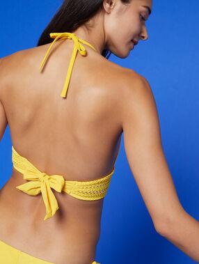 Haut de maillot triangle, basque ajourée jaune acidule.
