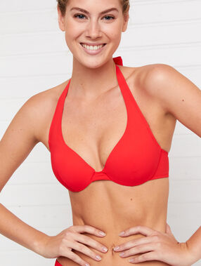 Haut de maillot de bain push-up rouge.