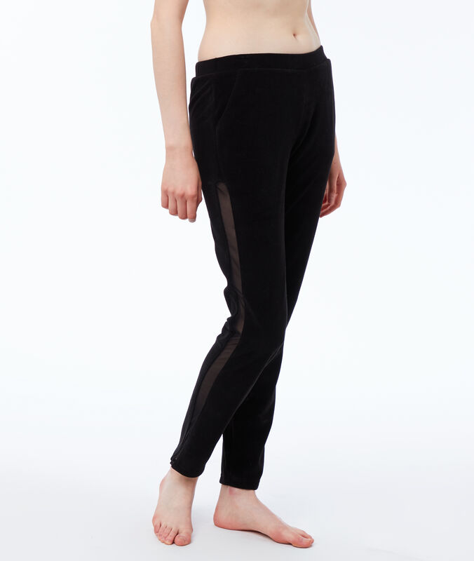 Pantalon velours homewear bande resille noir.