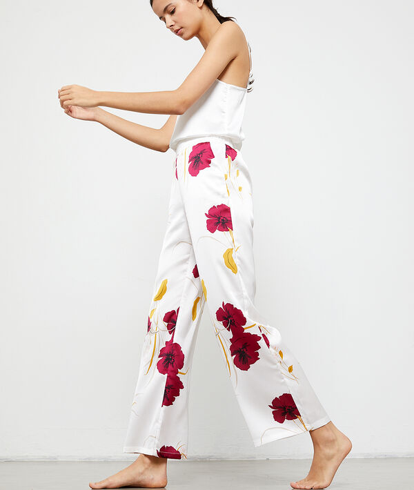 Pantalon satin imprimé fleuri