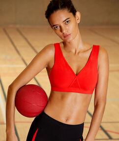 Brassière de sport, mousses amovibles & dos croisé - maintien médium rouge.