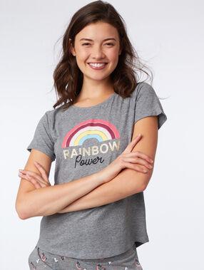 "T-shirt ""rainbow power"" anthracite."