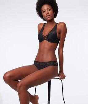 Soutien-gorge n°3 - triangle push-up, dos corset noir.