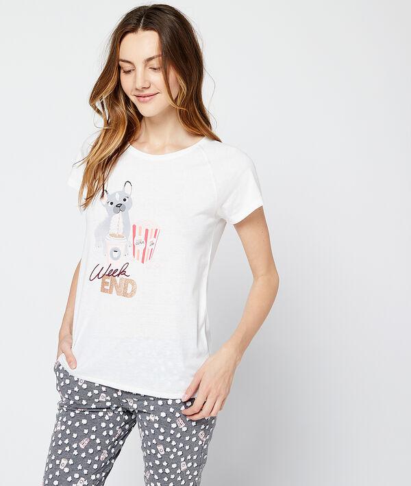 """T-shirt imprimé chien """"Week-end"""""""