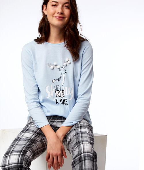 T-shirt à message avec pompons