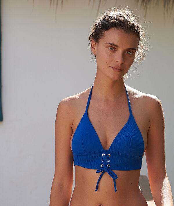 Haut de maillot de bain triangle, détails œillets et laçages