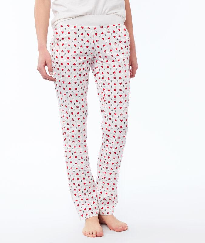 Pantalon imprimé blanc.