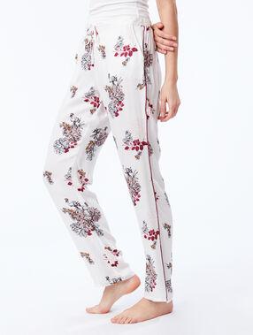 Pantalon large noué à imprimé floral ecru.