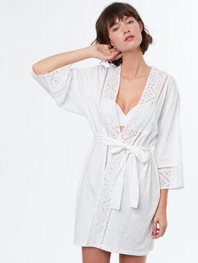 Déshabillé kimono imprimé broderie anglaise blanc.