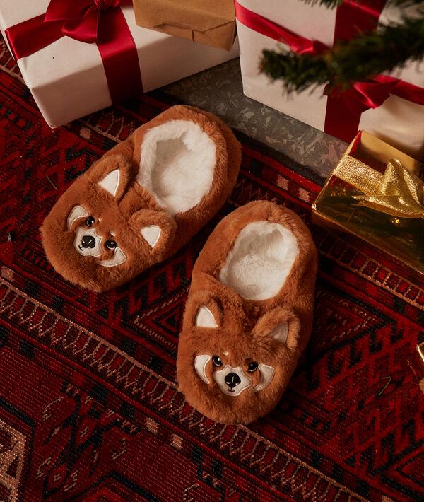 Chaussons panda roux