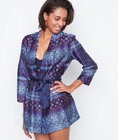 Déshabillé kimono satin imprimé bleu.