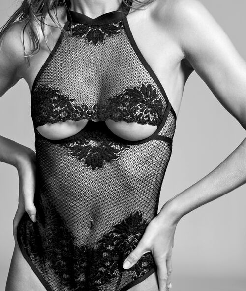 Body string résille, dentelle française