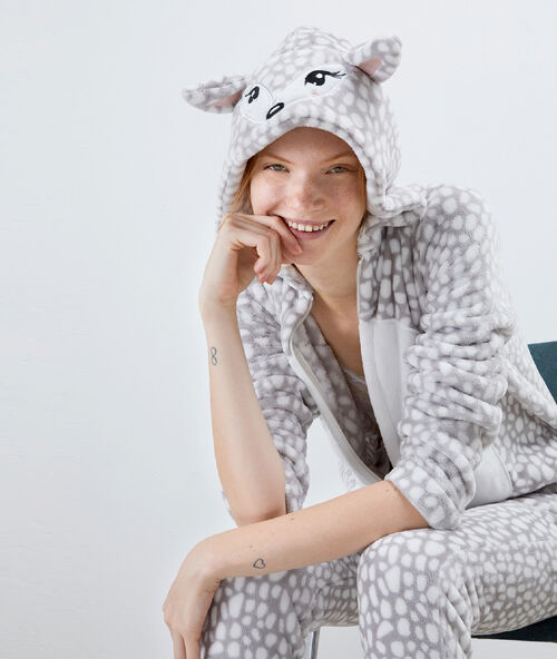 Combinaison pyjama daim gris.