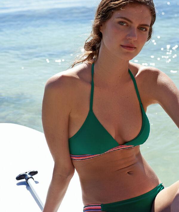 Haut de maillot de bain triangle, détails colorés