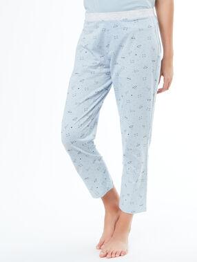 Pantalon imprimé chats bleu.