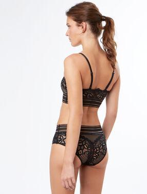 Culotte en dentelle à bandes élastiques noir.