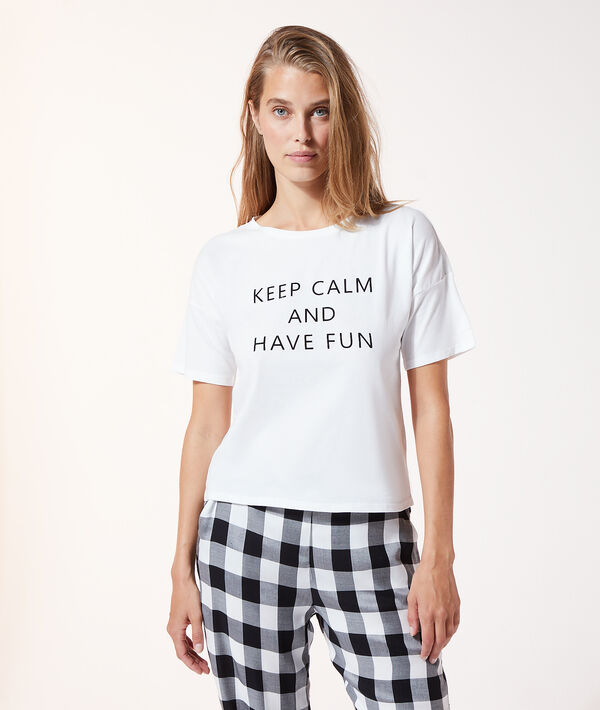 "Top manches courtes ""Keep calm and have fun"";${refinementColor}"