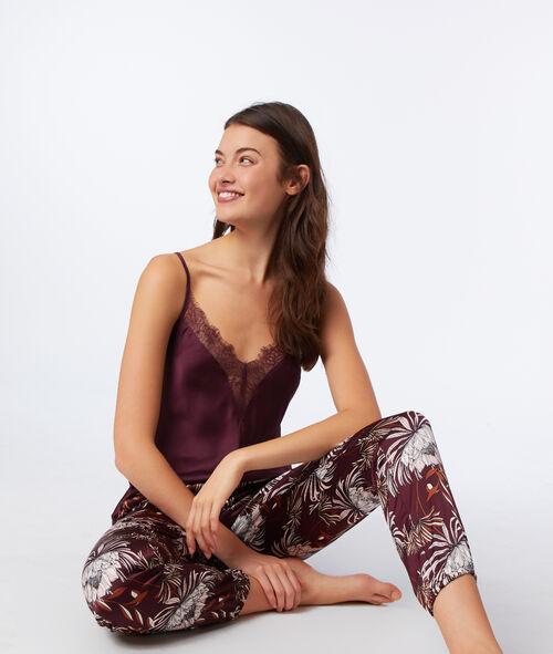 Pantalon satiné imprimé floral