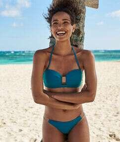 Bas de bikini brésilien - high leg vert canard.